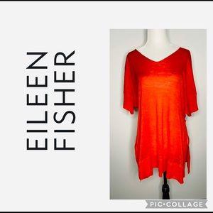 Eileen Fisher Oversized 100% Silk Orange Tunic Top